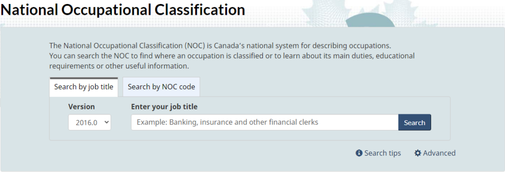 National Occupation Classification